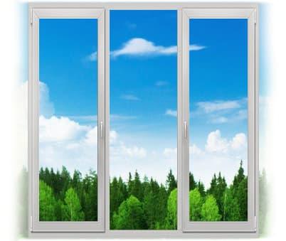 пластиковое окно трехстворчетое