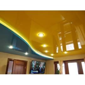 Натяжной потолок глянцевый двухуровневый, цвет зеленый