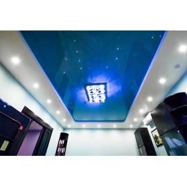 Натяжной потолок глянцевый двухуровневый, цвет синий